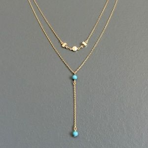 small layered turquoise y necklace, blue simple